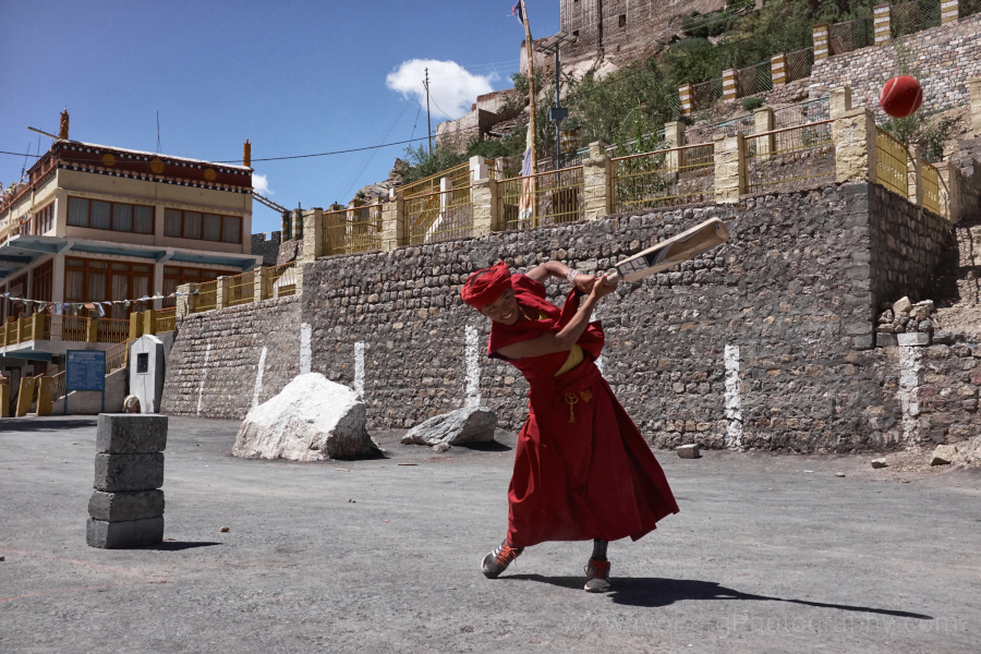 13 - Monks playing cricket in the monastery
