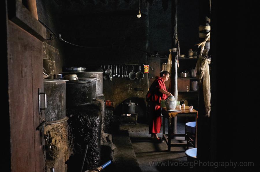 4 - Monk preparing tea in the monastery kitchen