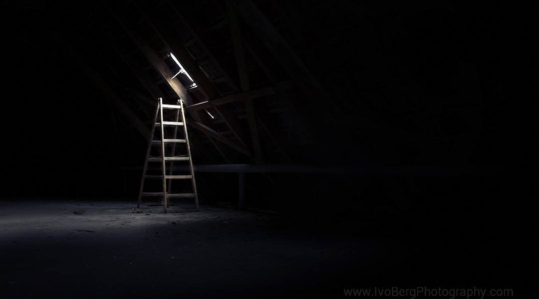 Ladder in attic